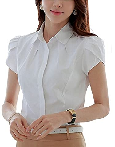 Putao World Women's Cotton Collared Button Down Shirt Short Sleeve Blouse White 12