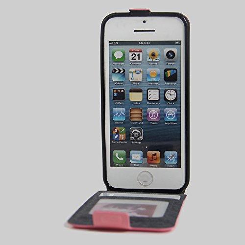 Owbb® PU Ledertasche oberen und unteren offenen im Bookstyle für iphone SE Smartphone Case Cover Wallet Standfunktion mit Kartenfächer Bargeld Aussparrung-Braun Pink