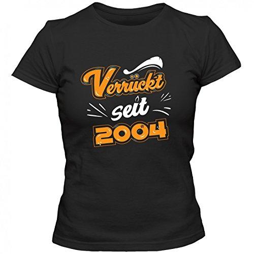 Verrückt seit 2004 Premium T-Shirt | Geburtstags-Shirt | 13. Geburtstag | Jahrgang 2004 | Frauen | Shirt © Shirt Happenz Schwarz (Deep Black L191)