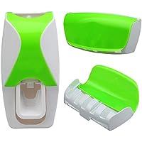 Portacepillos y dispensador de pasta de dientes con 5 ranuras de color verde