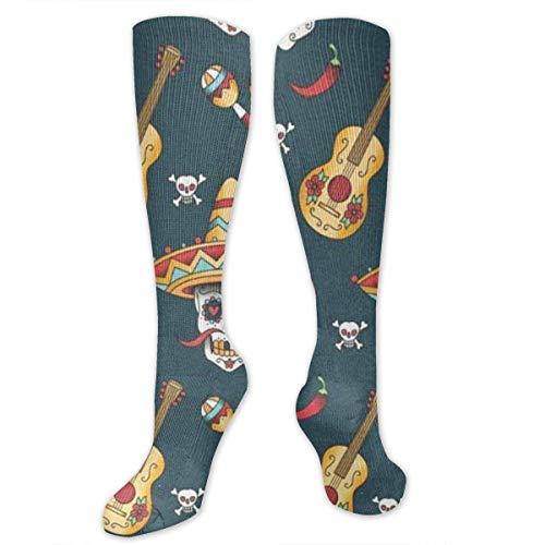 Classics Compression Socks Happy Halloween Floral Sugar Skulls Personalized Sport Athletic 50cm Long Crew Socks for Men Women