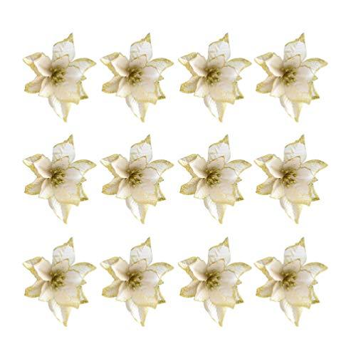 Nuobesty 24pcs glitter poinsettia ornamenti per alberi di natale fiore di poinsettia artificiale per decorazioni natalizie dorate