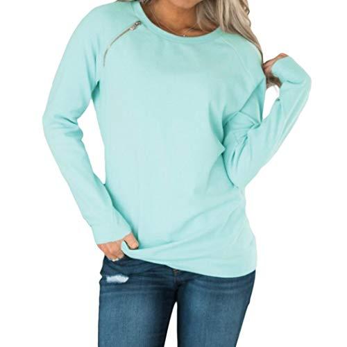 TWIFER Pullover O-Ausschnitt Langarm Herbst Sweater Gold Zip Detail T-Shirt Bluse