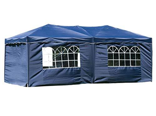 habeig® Wasserdichter Faltpavillon 3x6m Taupe Anthrazit Pavillon inkl. Seiten mit Fenster Partyzelt Stahlverbinder (Blau)