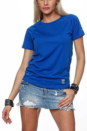 Happy Clothing Damen Sport T-Shirt kurzarm Trikot Sommer Funktionsshirt Fitness Top, Größe:XL, Farbe:Blau (Radfahren T-shirt Rosa Damen)