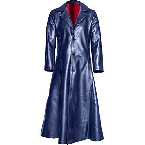 ste Herren Leder Trenchcoat für Männer Lange Jacke Vintage Distressed Ledermantel Plus Größe S-5XL Schwarz Dunkelblau Rot ()