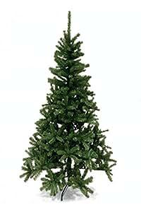 Albero di Natale altezza 180cm, diametro 74cm, colore verde scuro, plastica e metallo
