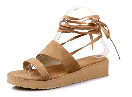 GLTER Chaussures Peep-Toe Femme sandales romanes chaussures épaisses Pompes à sangle de cheville T-Bar apricot