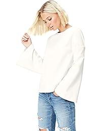 Amazon-Marke: find. Damen Langärmeliges T-Shirt mit rundem Ausschnitt