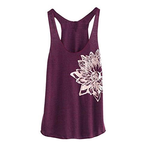 Saingace(TM) Damen Sporttop Yoga Tank Top Fitness Funktions Shirt,Frauen ärmelloses Blumen Druck Hemd Beiläufiges Lose Trägershirt -