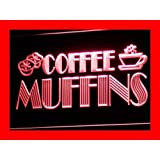 Enseigne Lumineuse i111-r OPEN Coffee Shop Muffins Cafe Neon Light Signs