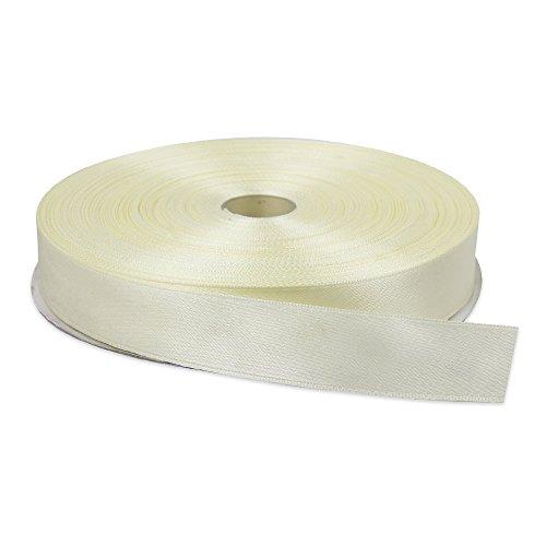 YCNK 1 Zoll Double Face Solid Satin Ribbon 25 Yards-Roll für Handwerk Zubehör (Elfenbein) (Satin Face Ribbon Double)