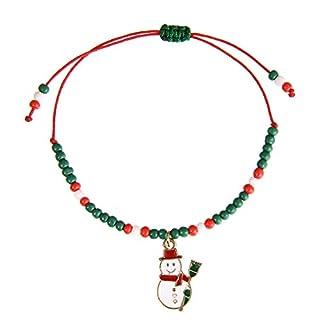 Aituo Weihnachten Armband versilbert Frauen Mädchen DIY Schmuck mit klassischen Perle Fass Verschluss Pandora Troll Stil europäischen Charme Perlen Armbänder (Style-Santa)
