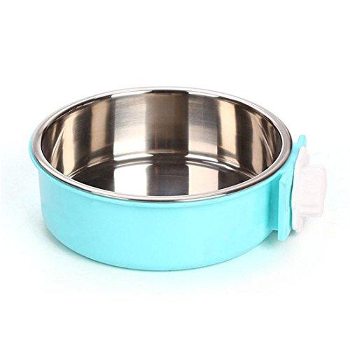 Wasser-luft-erfrischungsmittel (Hund Katze Essen Wasser Schalen Hängend Käfig Rostfrei Stehlen Klein Haustier Vögel Gericht Zubringer Schüssel , Blue , M)