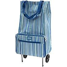 Sabichi - Cesta de la compra con ruedas, diseño de rayas azules