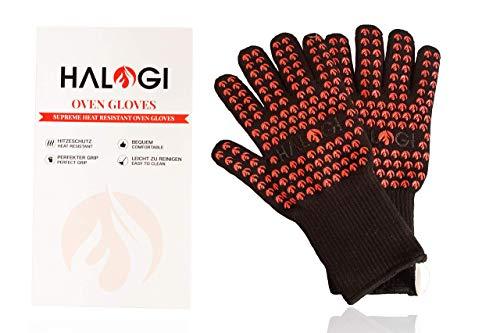 Halogi Hitzebeständige Grillhandschuhe, Ofenhandschuhe, Pizza Handschuhe, kochhandschuhe, Handschuhe hitzebeständig bis 800 °C