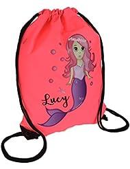 Personalised Kids Little Mermaid Theme Drawstring Swimming, School, PE Bag For Girls