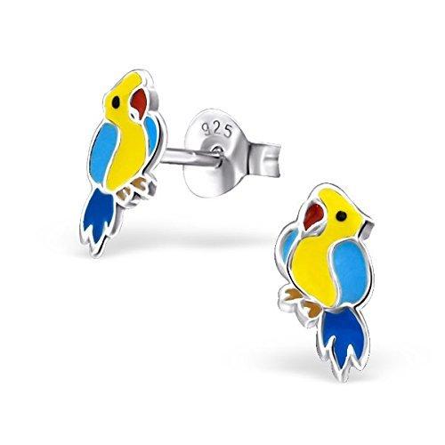 Papageien Ohrringe mit Geschenk-Box,925er-Sterlingsilber,Bunt -