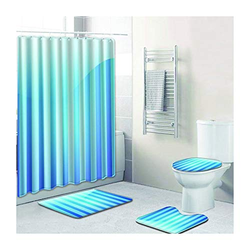 MaxAst Duschvorhang Anti Schimmel Badematte 4Teilig Set Vertikales Muster Blau Duschvorhang Badewanne 180X180 Duschvorleger Set 45x75 (Blau Duschvorhang Set)