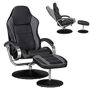 Amstyle Sporting TV Fernseh-/Relax-Sessel drehbar mit Hocker, schwarz / grau