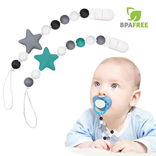 Heawaa 2 pcs porta ciuccio neonato silicone, ciuccio catenella bpa gratuito, catenella ciuccio giocattolo per dentizione baby shower regali