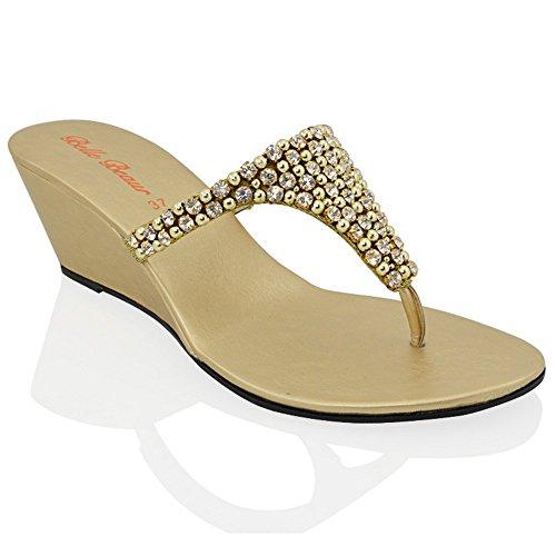 Essex glam sandalo donna oro infradito scintillante elegante finto diamante con tacco a cuneo eu 41