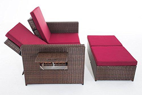 CLP Poly-Rattan 2er Lounge-Sofa ANCONA, ALU-Gestell, Fußteil ausziehbar, flexibel verstellbar, 7 Farben + 2 Rattan Stärken wählbar Rattan Farbe braun-meliert, Stärke 1,25 mm, Bezugfarbe: Rubinrot - 4