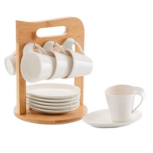 Kaffeebecher-Set, QILICZ 6 Stück Kaffeetassen-Sets, Europäische Keramik-Tee-Sets Bestehend aus Tassen und Untertassen mit Bambus Klammer Porzellan für Hochzeit Geschenke Haushaltswaren und Hotel