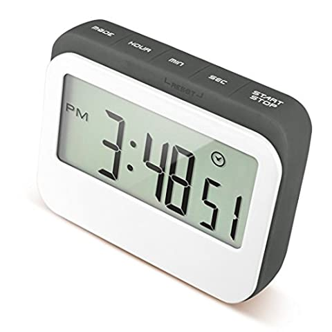 cAoku Digital Kitchen Event Countdown Timer | Colored Large Display Clock in Silicon Case | Digital, Loud Alarm Electric Timer with Magnetic Backing & Stand (Grey)