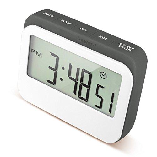 caoku Digital Küche Event Countdown Timer   farbigen großes Display Uhr in Silikon Fall   Digital, lauter Alarm Elektrische Timer mit magnetischer Rückseite und Ständer - grau (Case Display Wall-mounted)