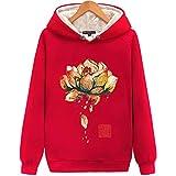 LLRCAZR Chinesische Brief Welle Gedruckt Hoodies Sweatshirts Männer Frauen Streetwear Pullover Hoodie Kanji Kleidung Chinesischen Stil Lotus Rot, M