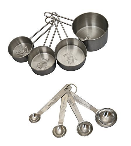 Hoffia 8-piece Stainless Steel Measuring Cup and Measuring Spoon Set