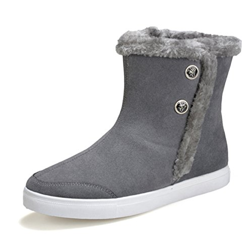 Chaussures Hommes Tirette En Daim Peluche Chaude Extérieure Bottes De Neige D'hiver Gris