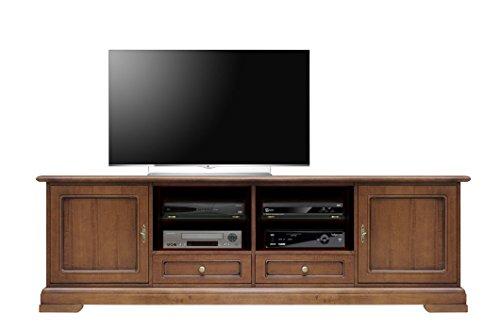 Mobile base tv 200cm per salotto, stile classico, struttura in legno arredo per soggiorno, 2porte/2cassetti/vano aperto, artigianato fatto in italia, dimensioni: l201xh63,5xp40 cm