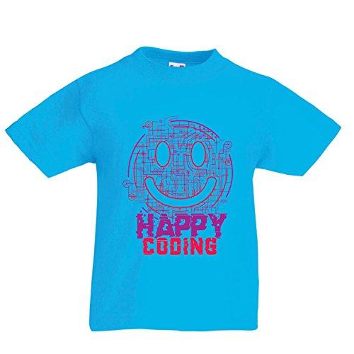 Kinder Jungen/Mädchen T-Shirt Fröhliche Codierung - Lächeln Sie Gesicht, lustiges Emoji, Perfektes Geschenk für Spieler Oder Computer Services (3-4 years Hellblau Mehrfarben)