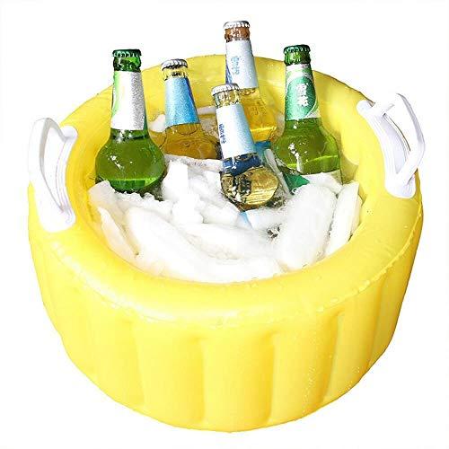 Aufblasbarer Eiskübel PVC-Bierfass-Eisbar im Freien tragbarer Eimer kann Eis halten,Grill Picknick Strand einzigen tropischen Hawaii Luau Tiki Party liefert dekorative Accessoires,45cm gelb