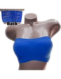 79264665f3 Trifolium Fashion Womens Seamless Strapless Padded Lace Back Top Bandeau  Bra Stretch 3146
