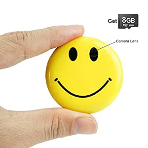 Toughsty 8GB Tragbarer Mini Spion Kamera Smiley Gesicht Abzeichen Videorekorder DV Kamerarecorder