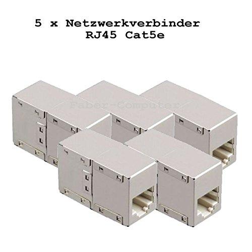 5x Netzwerk Internet Kabel LAN Verbinder Adapter Kupplung geschirmt RJ45 BU/BU Metall Würfel (Feste Würfel)