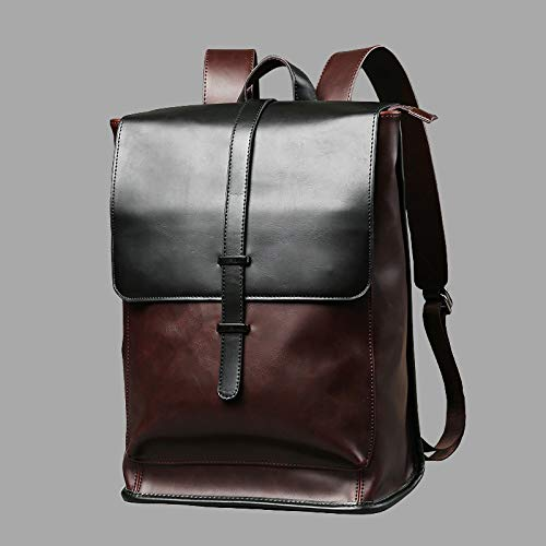 TnXan Retro Laptop Leather Backpack Bag Men's PU Travel Leisure Backpack Retro Leisure Bag Outdoor Riding Mountaineering Travel Backpack