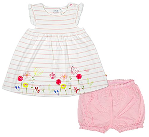 Baby Girls Stripe Floral Trim Dress Top & Knickers Set Sizes from Newborn to 12 Months