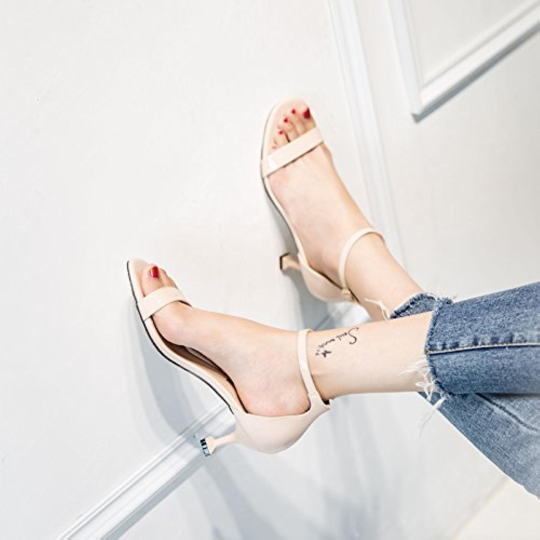 VIVIOO Sandalias De Las Mujeres De Sandalias De Tacón Alto Gato De Shoessummer De Tacón Alto Con Una Hebilla Con...