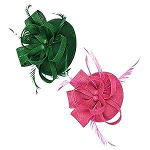 dailymall 2Pcs Damen Derby Feder Fascinator Stirnband Hut 1920er Jahre