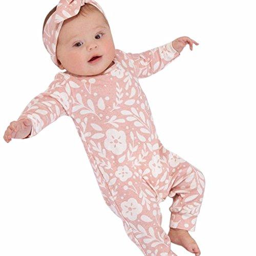 Kinderkleidung Set, Janly Neugeborenen Blätter Blumendruck Strampler Overall Stirnband für 1-2 Jahre alt Baby Outfits Pyjamas (Alter: 0-6 Monate, Rosa) (Pyjama-3 Monate)