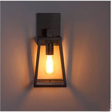 ZQ@QX Parete decorativa tradizionale semplice hotel café ristorante lampada da parete Lampada da parete in vetro retrò scatola , green