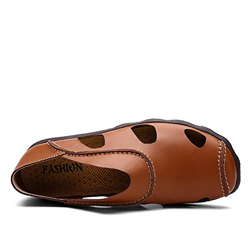 Männer Leder Sport Sandalen Front Paket Einfache Wasser Schuhe Sommer Soft Cowhide Beach Schuhe , black , 39