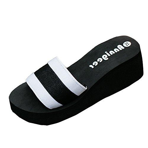 VJGOAL Damen Hausschuhe, Frauen Mädchen Sommer Sandalen Slipper Indoor Outdoor Flip-Flops Strand Dicken Sohlen Schuhe Frau Geschenk (37 EU, Weiß)