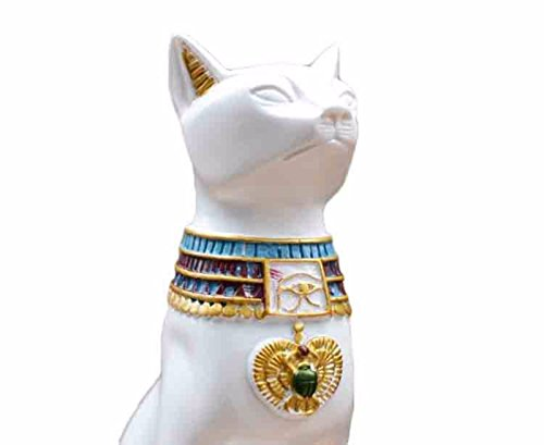 Egipto Figura Decorativa Coleccionable Estatua Blanco Gato