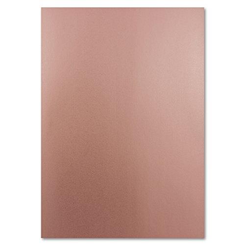 Metallic Papier DIN A4 21,0 x 29,7 cm - Bronze Metallic - 100 Stück - glänzendes Bastelpapier 90 g/m² - Rückseite Weiß - Für Einladungen, Hochzeiten -