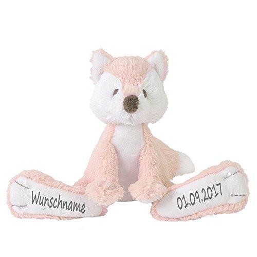 Stofftier Fuchs mit Namen und Geburtsdatum personalisiert Geschenk zartrosa